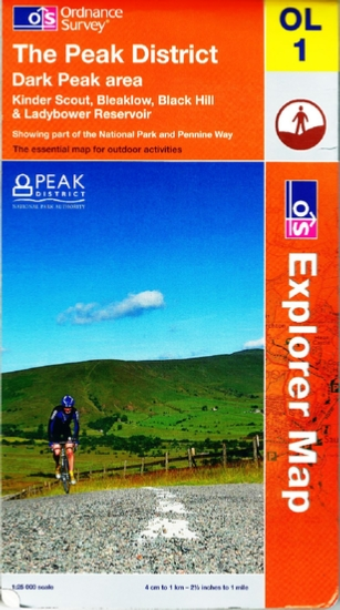 OS OL1 map of the Peak District, Dark Peak area